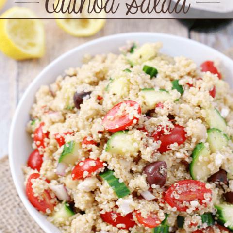 Mediterranean Quinoa Salad in a white bowl.