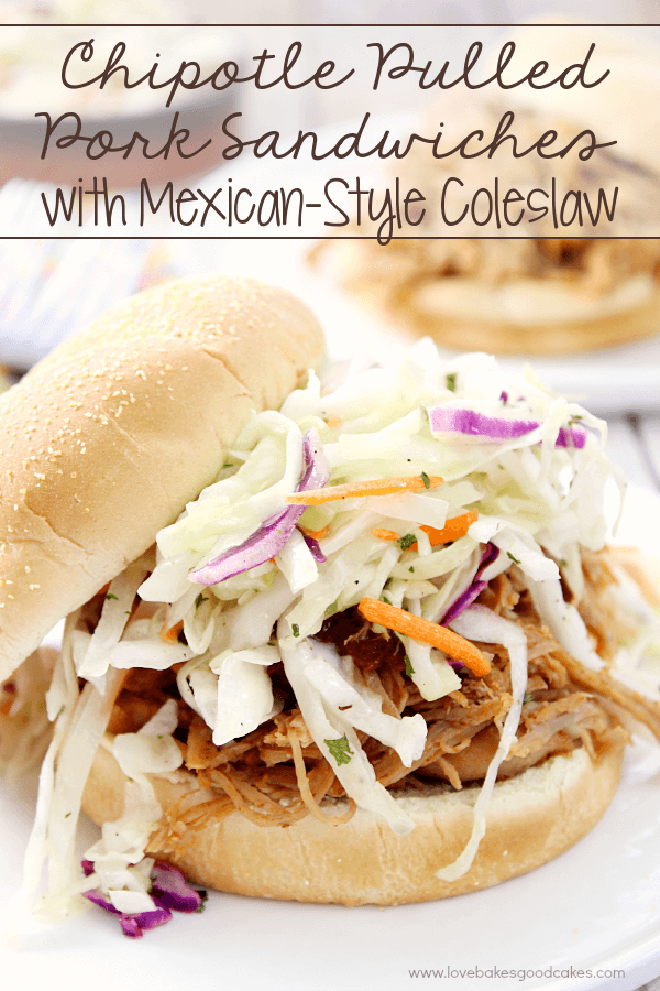 Chipotle Pulled Pork Sandwiches with Mexican-Style Coleslaw on a plate close up.