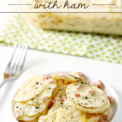 Cheesy Scalloped Potatoes with Ham on a white plate with a fork.