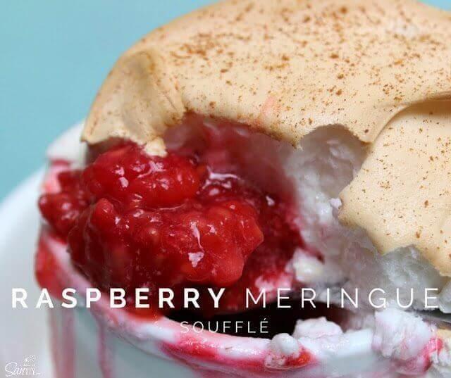 Raspberry Meringue Soufflé in a white bowl close up.