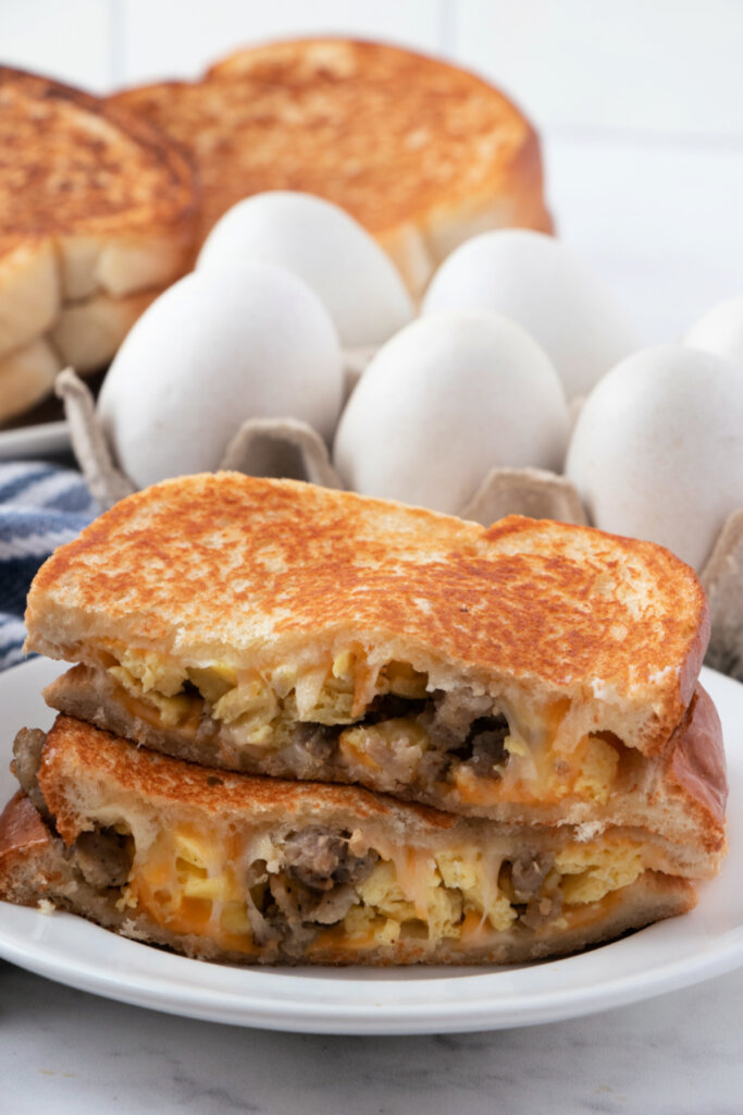 breakfast grilled cheese sandwich on plate