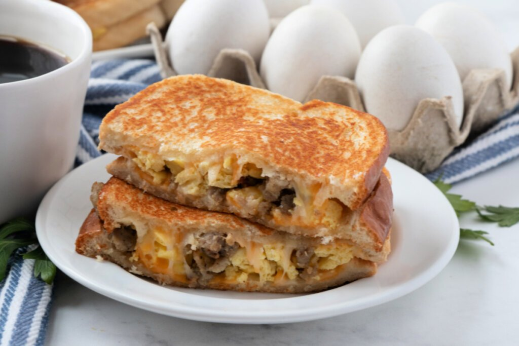 breakfast grilled cheese on plate