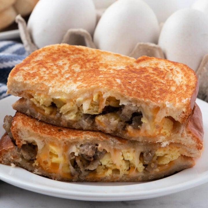 closeup grilled breakfast sandwich