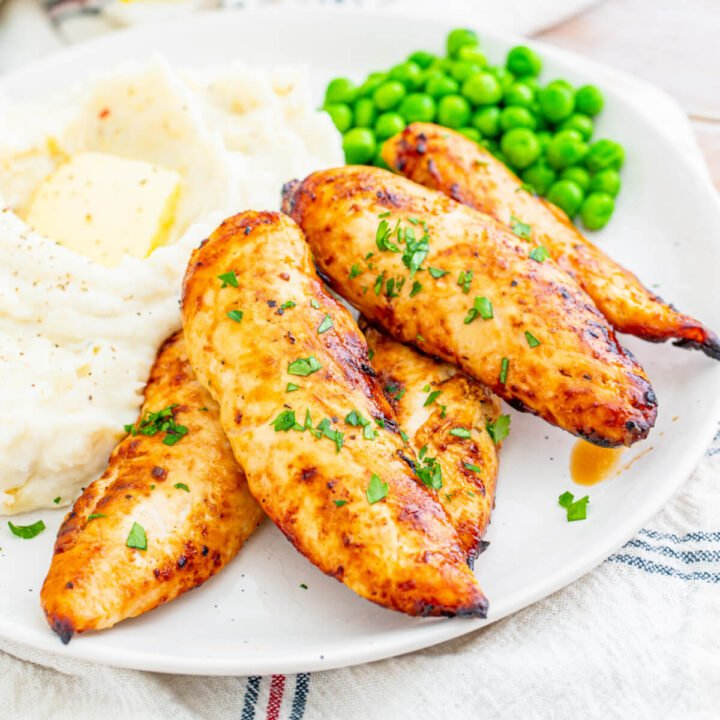 closeup air fryer chicken tenders
