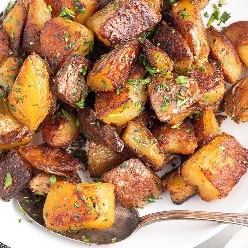 closeup of crispy roasted potatoes