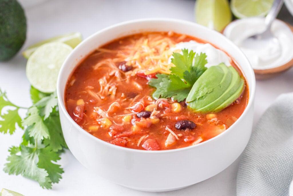 chicken enchilada soup in bowl