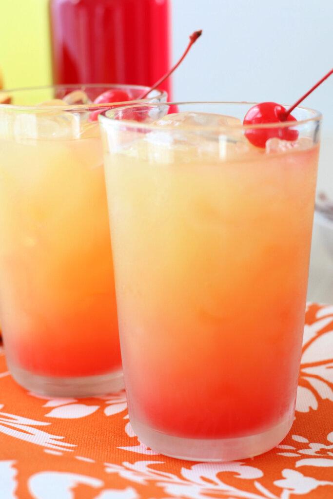 two limoncello sunrise cocktails