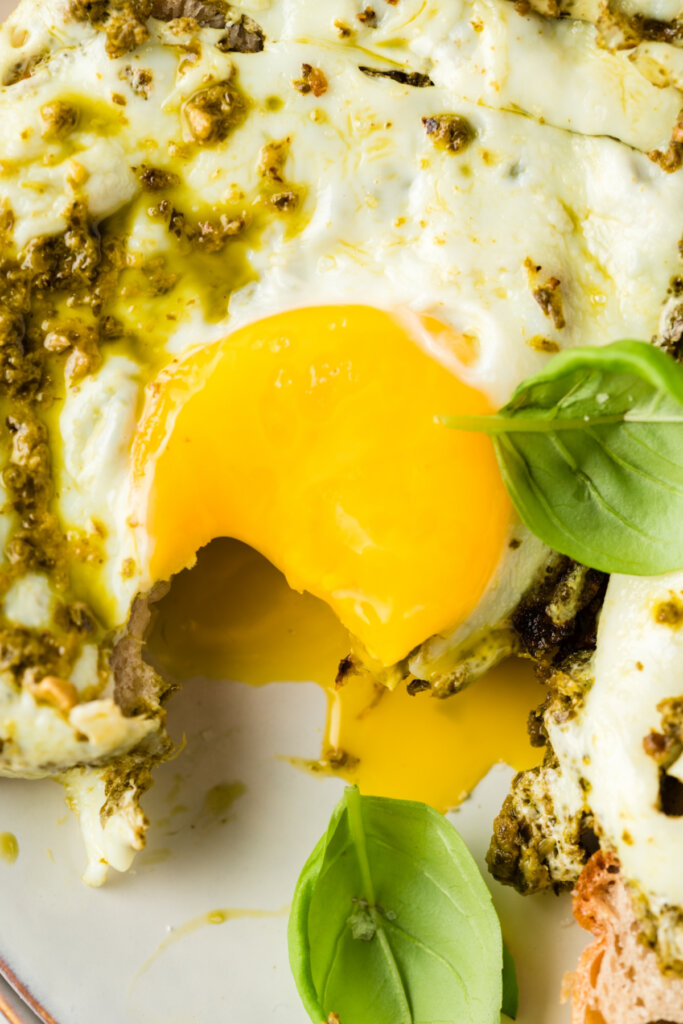 closeup of cooked yolk that has been broken