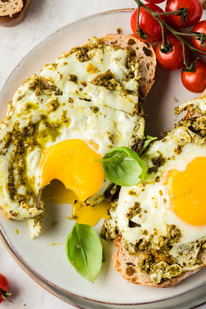 pesto eggs on toast