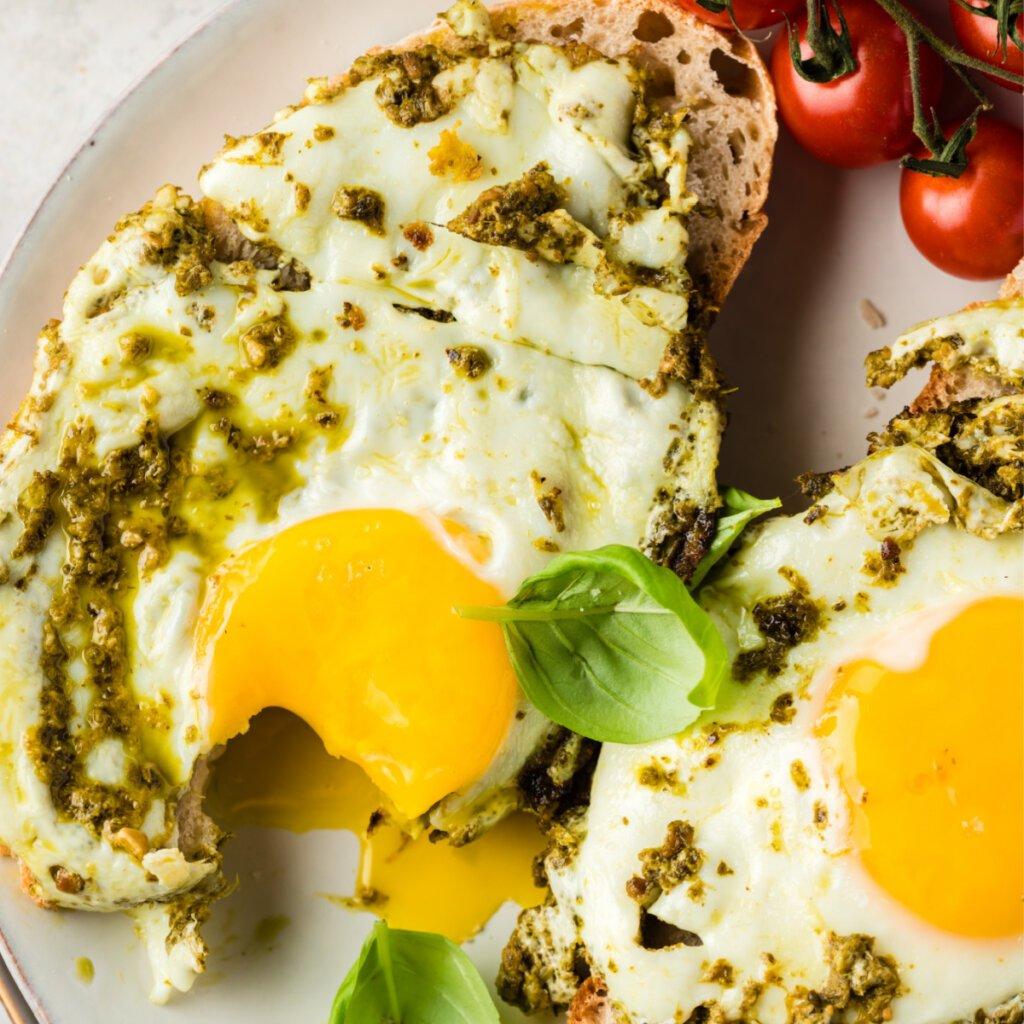 closeup of pesto eggs on toast