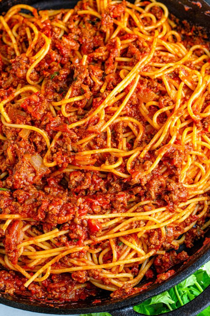 pasta in cooking pan