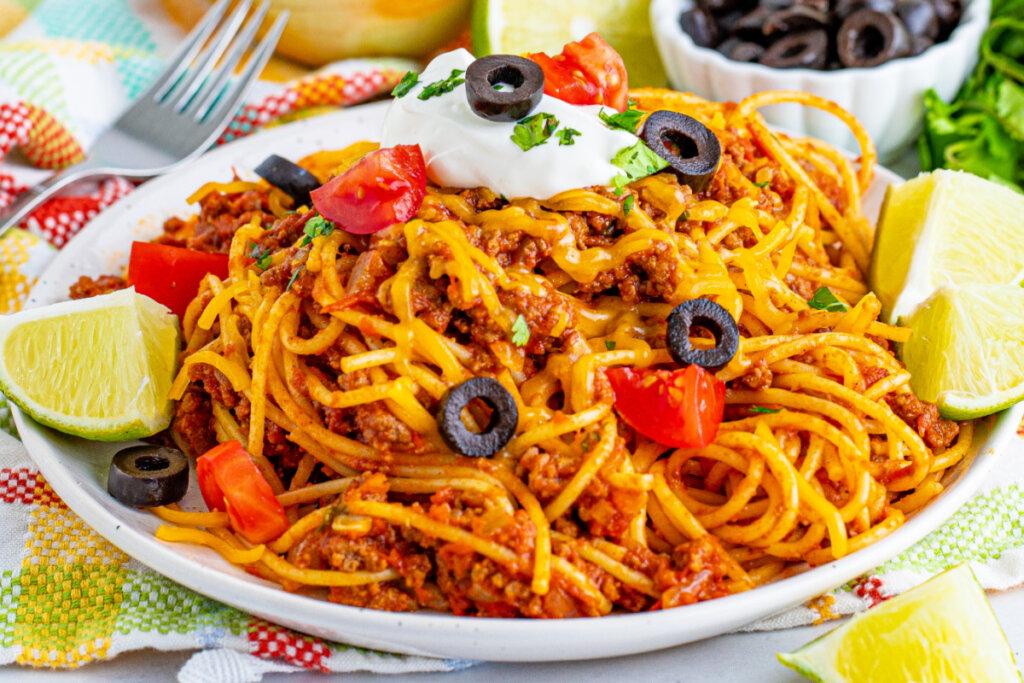 finished taco spaghetti on plate