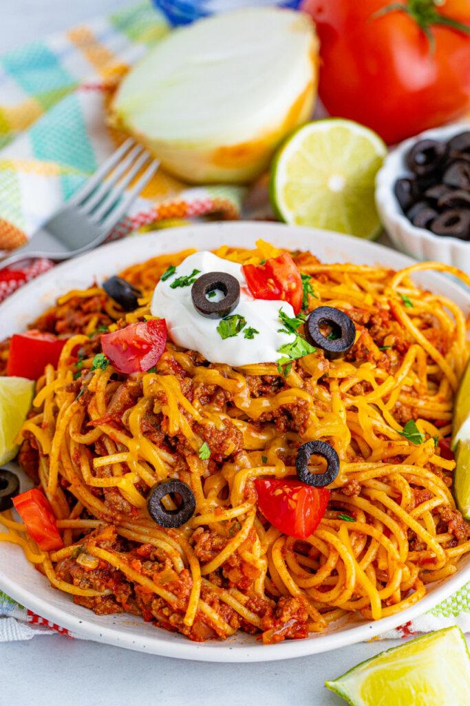plated taco spaghetti