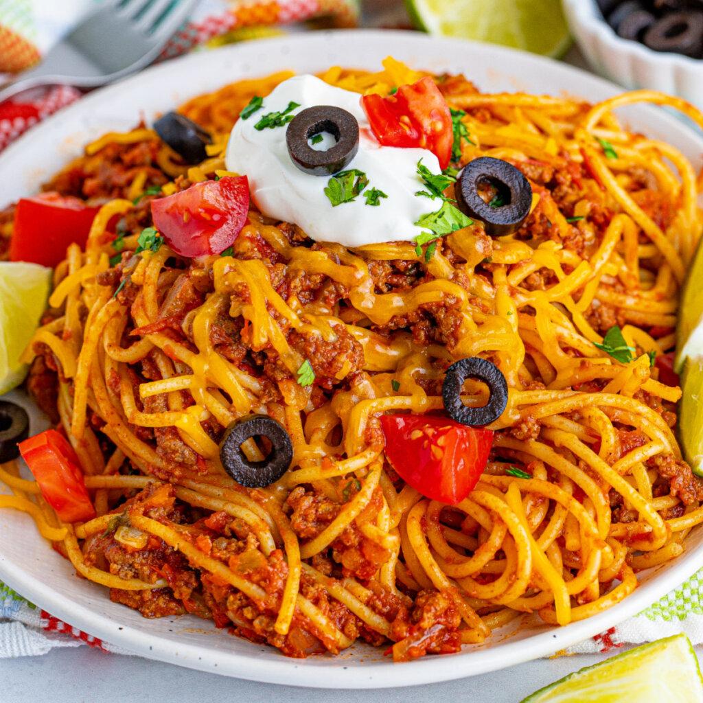 closeup of taco spaghetti on plate