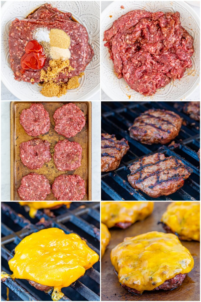 adding spices and seasonings, mixing and shaping the meat, grilling the meat and adding a slice of cheese