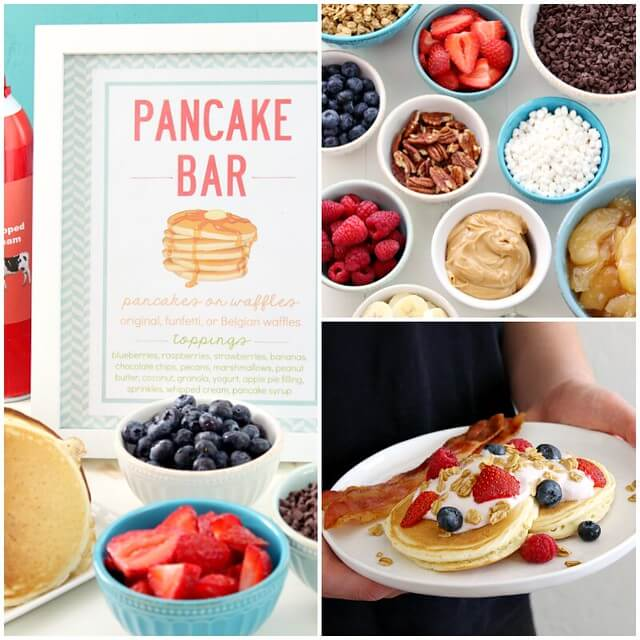 Pancake Bar collage with ideas listed.