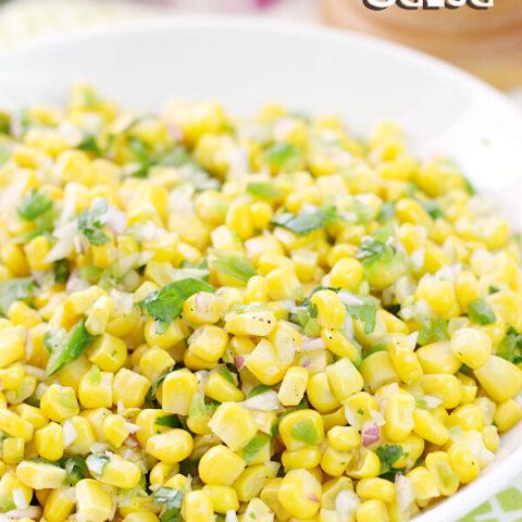 Corn Salsa in a white bowl,
