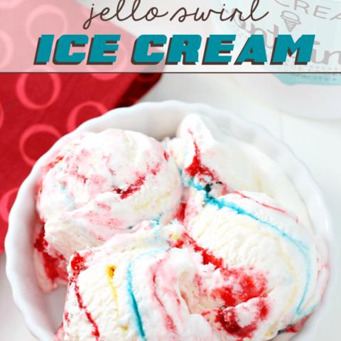 No-Churn Superman Jello Swirl Ice Cream in a white bowl.
