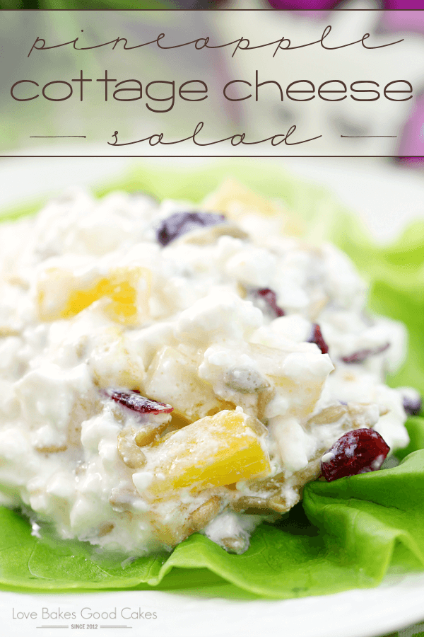 Pineapple Cottage Cheese Salad on a white plate.