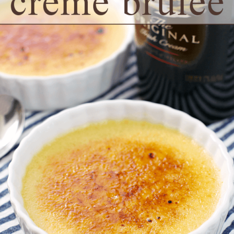 Irish Cream Crème Brûlée in 2 white bowls.