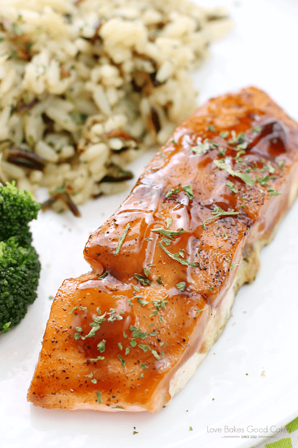 Dr Pepper Glazed Salmon on a white plate.