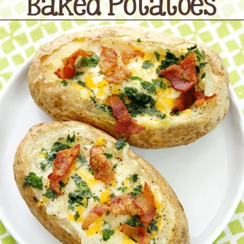 Bacon & Egg Stuffed Baked Potatoes on a white plate.