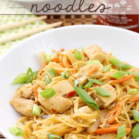 One Pan Chicken & Orange Chile Noodles in a white bowl.