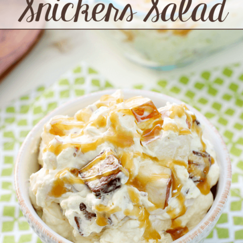 Caramel Apple Snickers Salad in a white bowl.