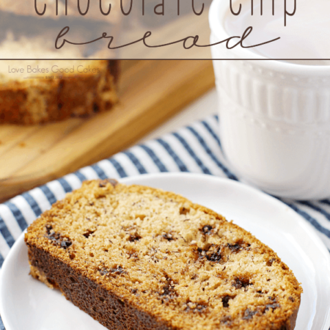 Banana Chocolate Chip Bread on a white plate with a cup of coffee.