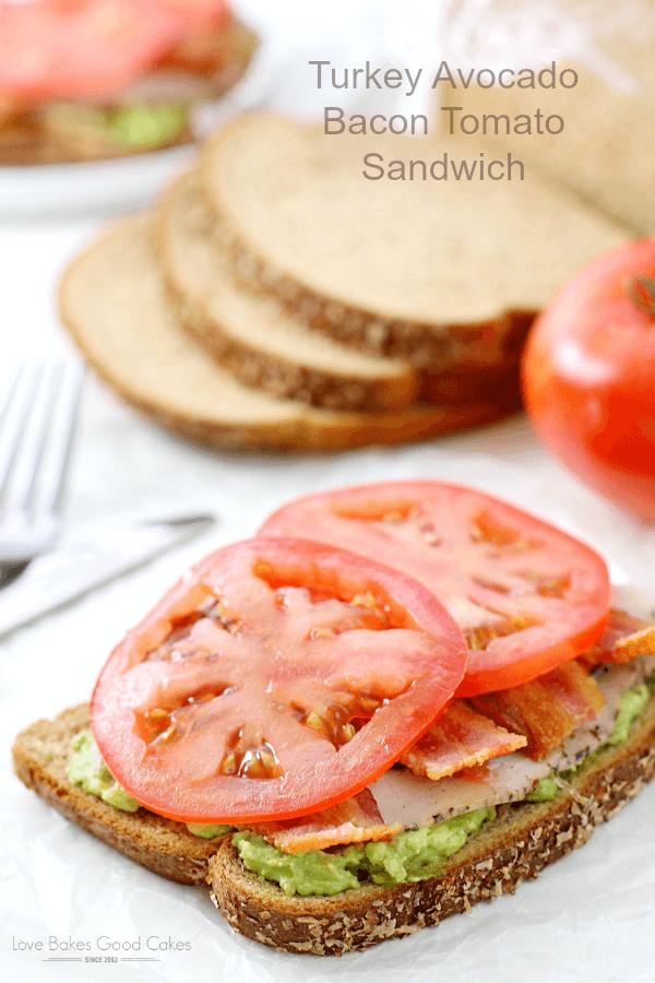 Turkey Avocado Bacon Tomato Sandwich.