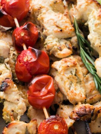 closeup of chicken skewers