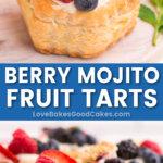 berry mojito fruit tarts pin collage