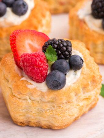closeup of berry mojito fruit tart