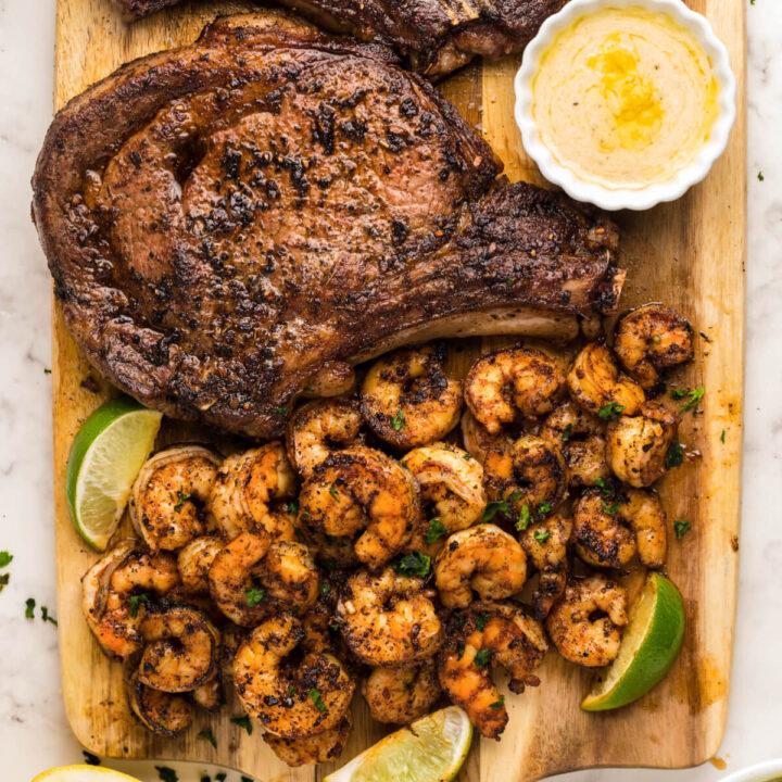 closeup of blackened steak and shrimp