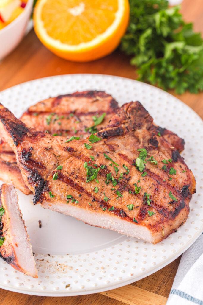 cut pork chop showing the juicy inside