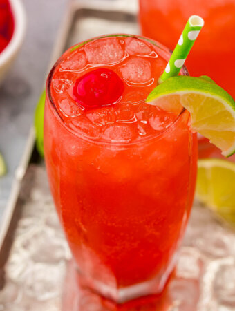 glass of cherry limeade