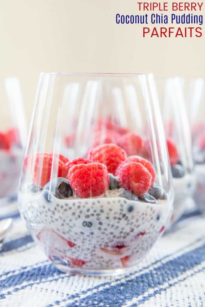 Memorial day parfaits in a glass with fresh fruit.