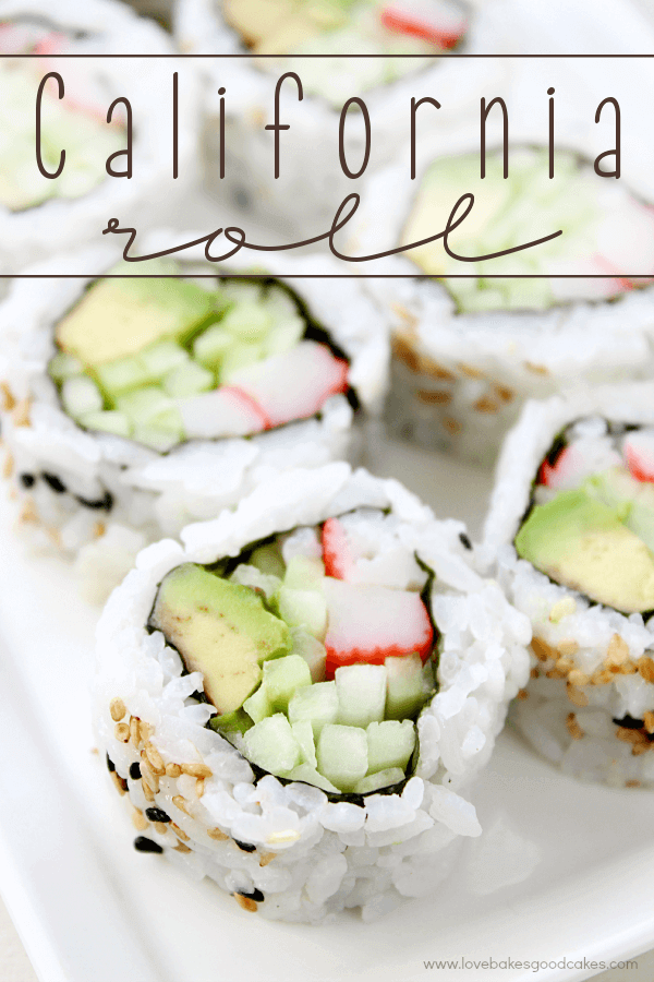 California Rolls on a white plate.