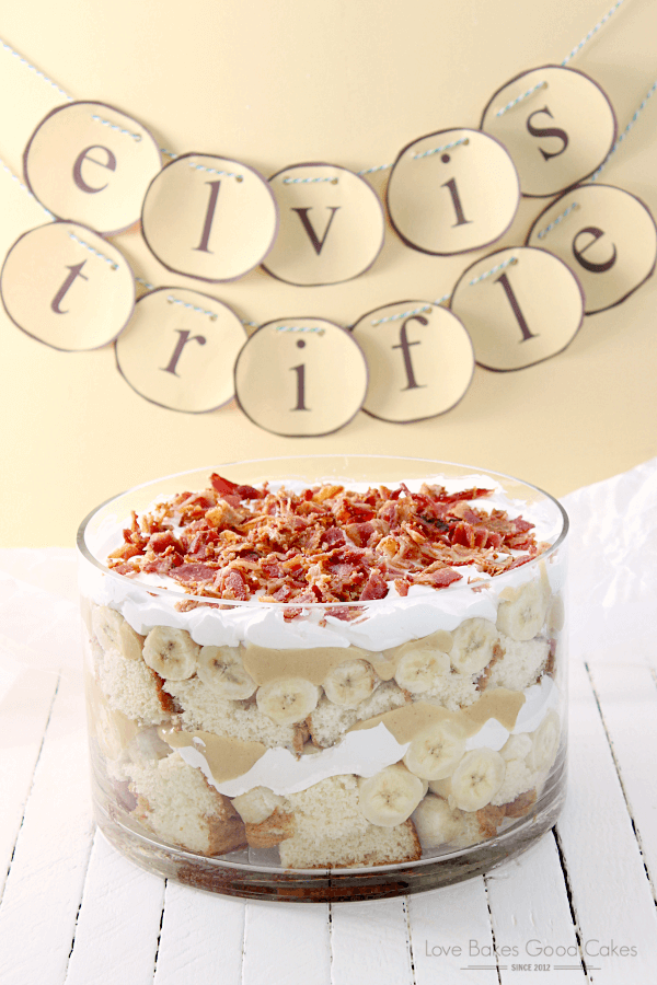 Elvis trifle cake in a glass bowl.