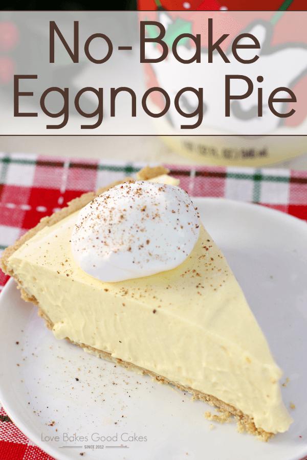 No-Bake Eggnog Pie on a white plate.