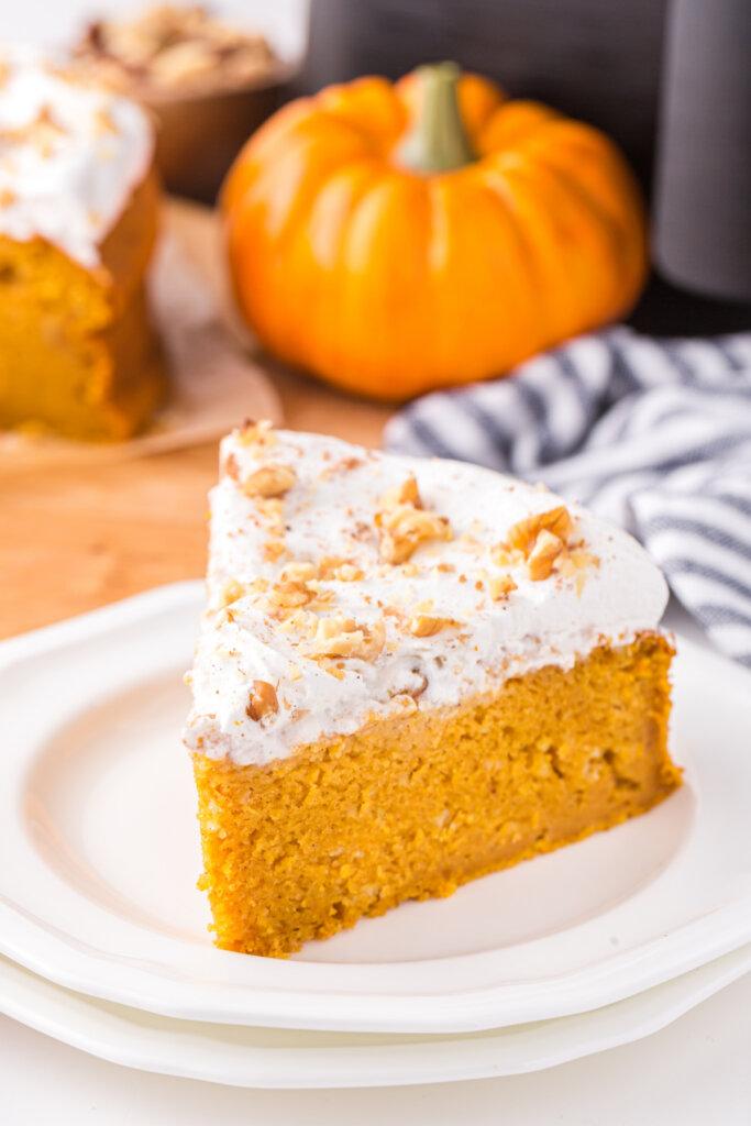 slice of pumpkin cake on plate