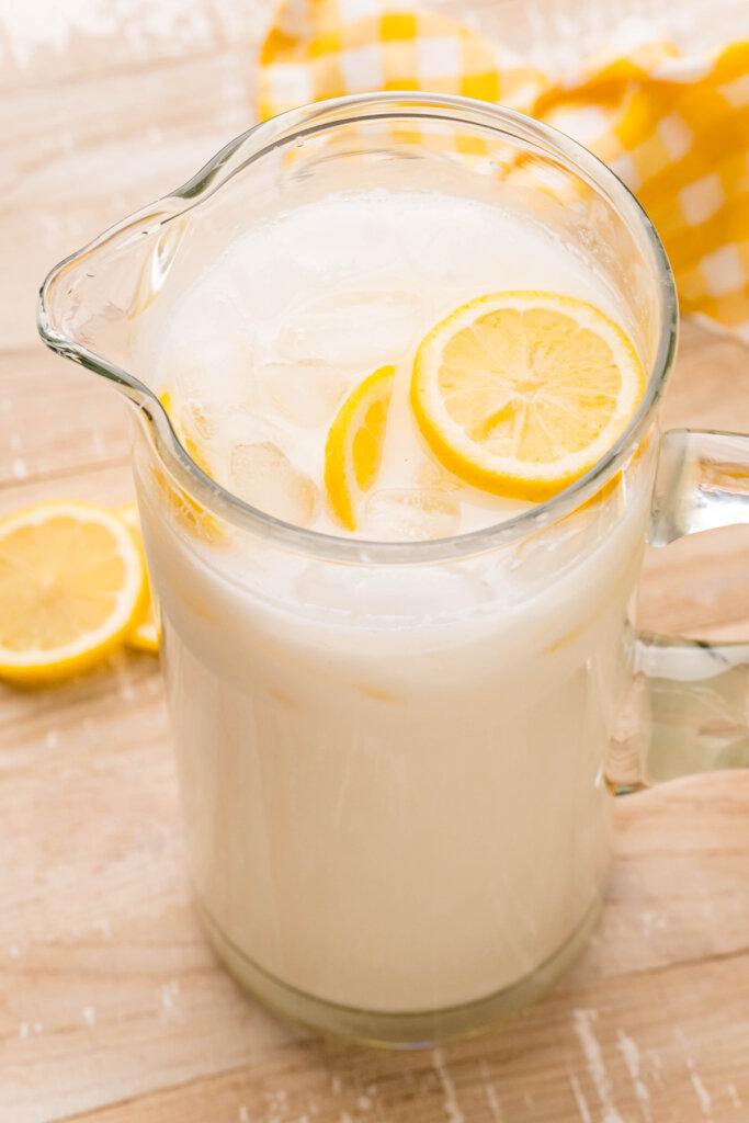 pitcher full of creamy lemonade recipe