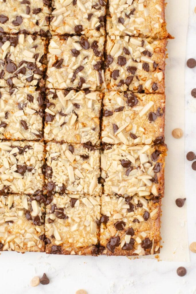 magic cookie bars cut into square